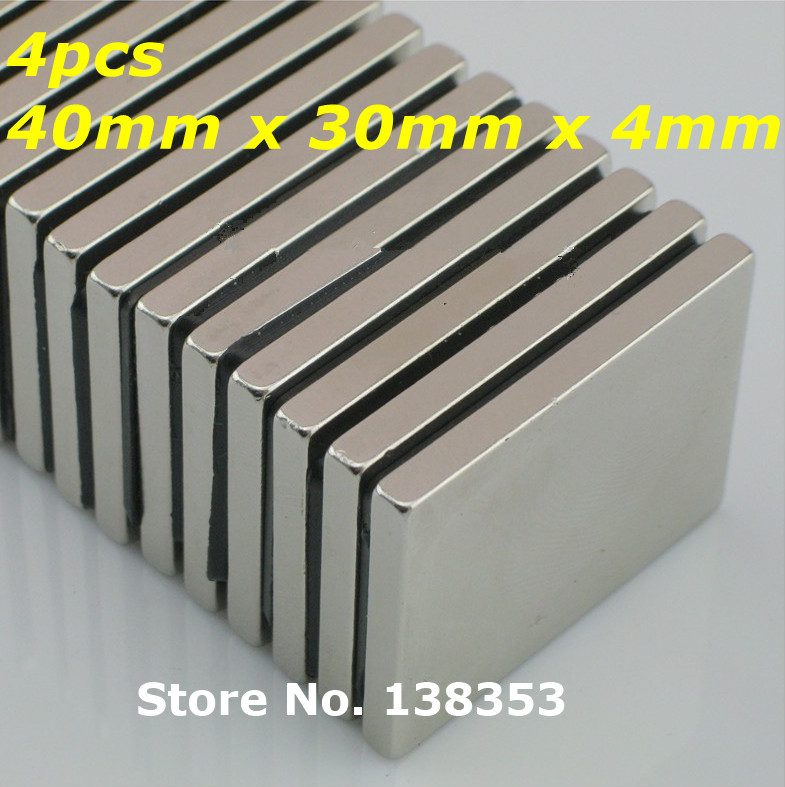 4pcs Bulk Super Strong Neodymium Rectangle Block Magnets 40mm x 30mm x 4mm N35 Rare Earth NdFeB Rectangular Cuboid Magnet<br><br>Aliexpress