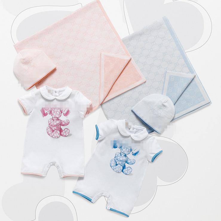 Children's clothing summer short-sleeve baby one piece romper set creepiness newborn clothes hat(China (Mainland))