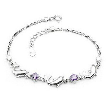 2014 New 100% Sterling Silver 925 Jewelry Dolphin Bracelets & Bangles Fine Jewelry Free Shipping !!!