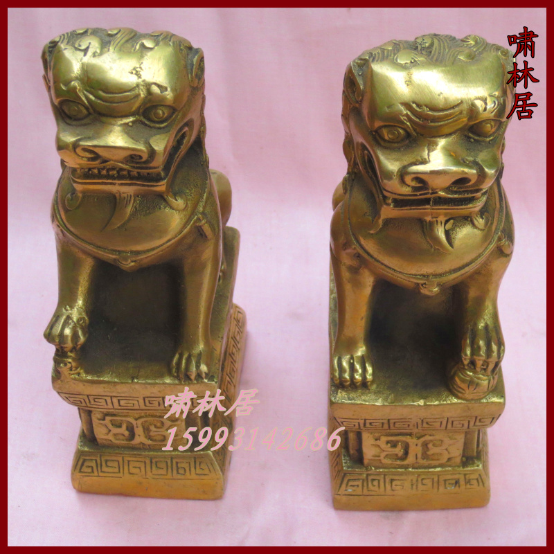 Antique works of Art Copper beijing lions apotropaic pure copper beijing lions home a pair(China (Mainland))