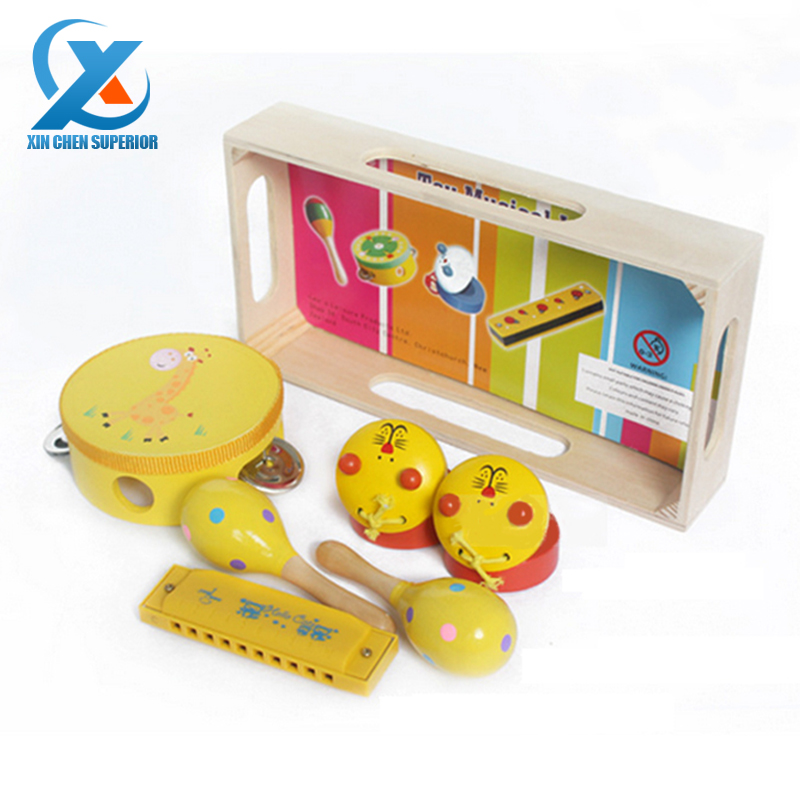 4pcs/set Wooden Toy Musical Instruments Carl Orff Musical Toys Drum Harmonica Castanet Sand Hammer Musical Baby Educational Toys(China (Mainland))