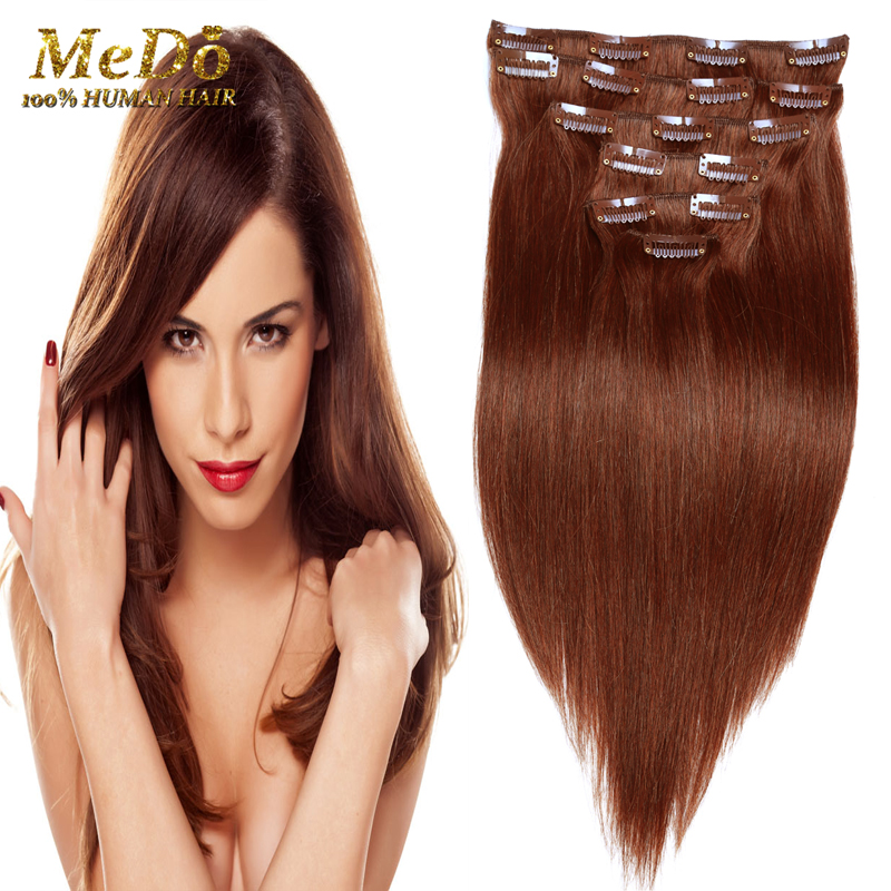 brazilian  Virgin hair straight  #27 Color  clip in human hair extensions straight Remy Clips In Human Hair Extensions<br><br>Aliexpress