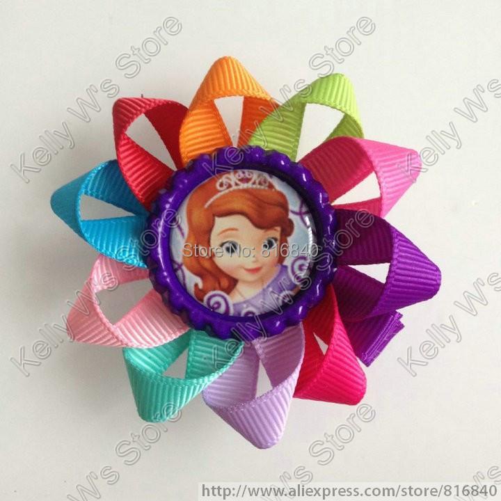 2015 New 2.6'' Princess Sophia Bottle Cap Loopy Hair Bow 20pcs/lot baby clip Children hair accessory 111(China (Mainland))