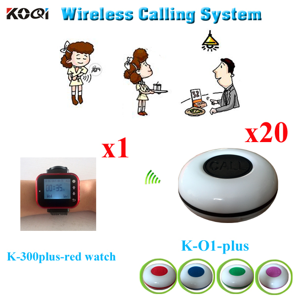 Restaurant Table Call System Super Quality New Products Buzzer (1pcs Watch Receiver +20pcs Call Button)(China (Mainland))