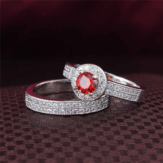 Wholesale 0 8 Carat Bridal wedding Ruby Sapphire CZ Diamond ring 2PCS Engagement rings set for