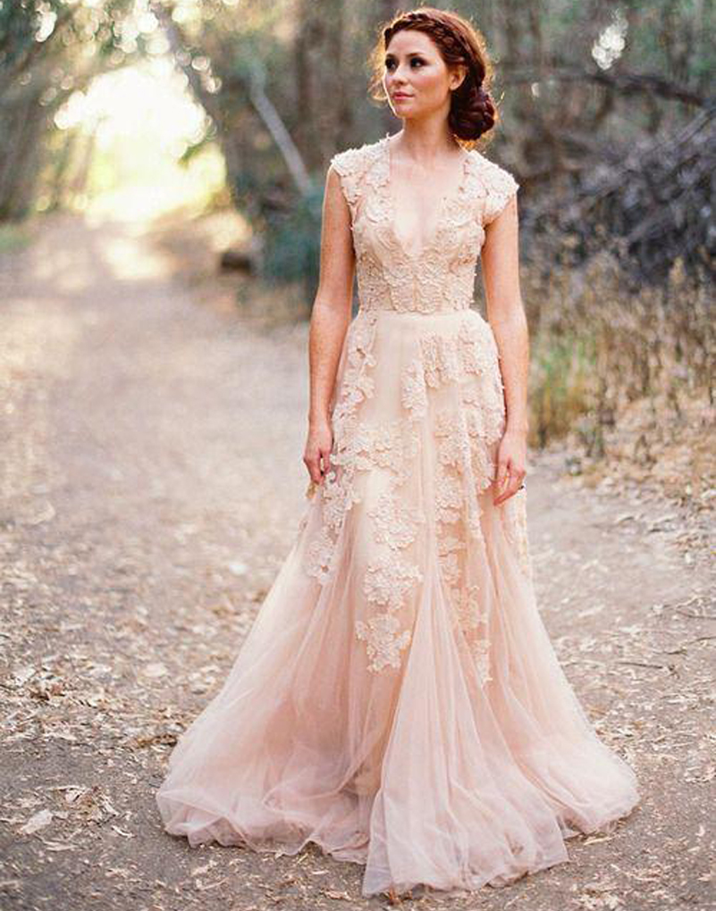 Vestidos de novia deep v cap sleeves pink wedding dresses for Red wedding dresses with sleeves