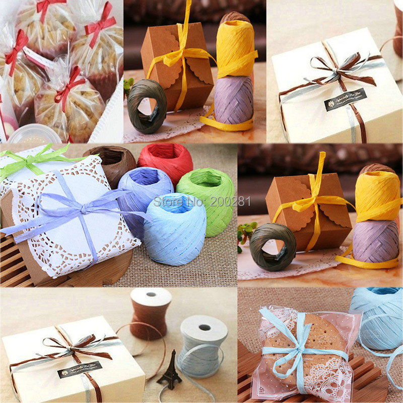 1Roll 20m Raffia Paper Ribbon 7mm All Colours Decorating Flower Gift Craft Scrapbook Raffia Paper Rope Ball Gift Decoration(China (Mainland))