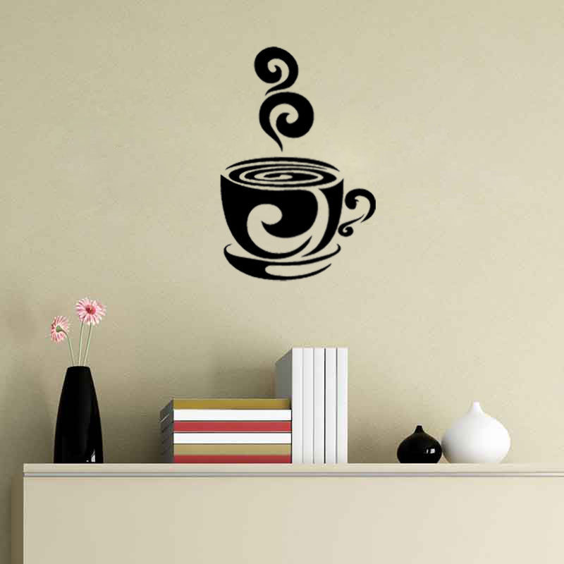 swirl coffee cup cafe vinyl wall art decal stickers wall decor sticker decoration vinyl removeable art mural