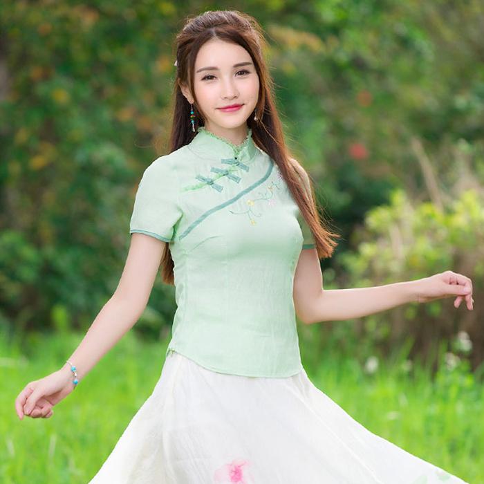 Cheap clothes China 2016 women elegant classic traditional mandarin collar short sleeve white green handmade frog blouse shirt(China (Mainland))