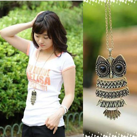 product Free shipping~Minimal mix order $15} Dreamland  necklace owl pendant silver and bronze color sweater jewelry 9.8*2.8cm A3020