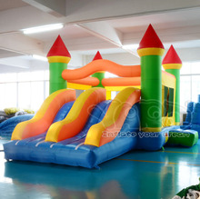 Giant dual slide inflatable castle jumping bouncer obstacle course bouncy castle moonwalk(China (Mainland))
