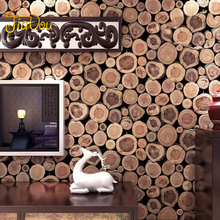 Super Thick 3D Wood Log Texture Embossed PVC Waterproof Wall Paper Roll Living Room Desktop Wallpaper Mural Papel De Parede(China (Mainland))