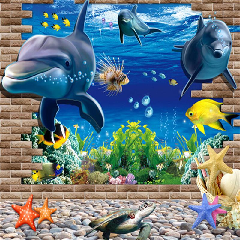 Decoracion Baño Jardin Infantil:Extraíble 3D Sea Whale Fish DIY PVC Pegatinas de Pared para Niños