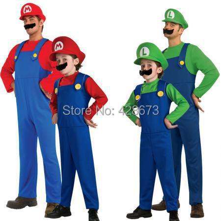 Hot sale!!!Men Women Funy Cosplay Costume Super Mario Luigi Brothers Plumber Fancy Dress Up Party Costume Cute Kids Costume(China (Mainland))