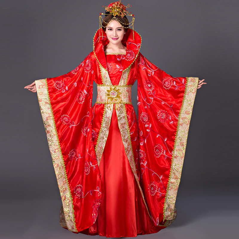Halloween Costumes China Hanfu Traditional Ancient Chinese Costume Women Chinese Folk Dance Wear Tang Princess Queen Cosplay