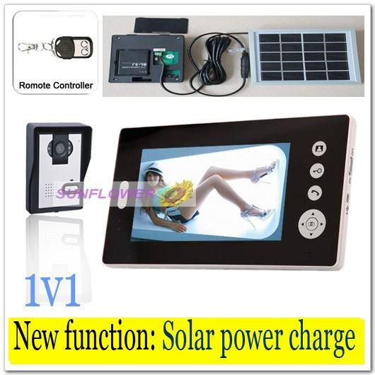 Newest Solar power charger Wireless 7inch photo-memory video intercom door phone system with remote control free shipping