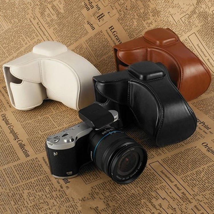 100% NEW Protective PU leather case bag for Samsung NX300 Digital Camera with strap Black / Brown / White(China (Mainland))