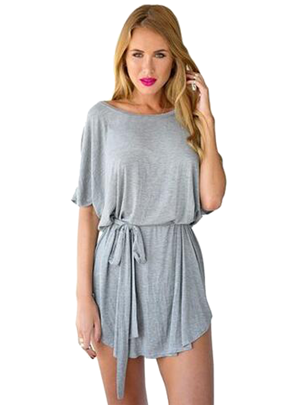 oversized with belt loose micro mini dress batwing sleeve