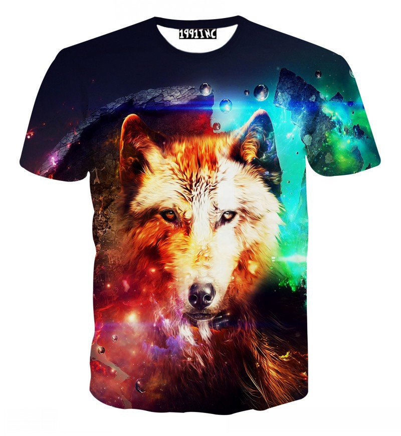 2015 New hip hop Unisex t shirts Dinosaur Savage Snow Wolf Dog cats 3D print women men t-shirts tops funny tee t shirt tshirts(China (Mainland))