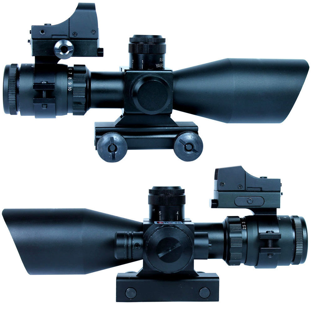 Tactical Scope 2.5-10X40  Riflescopes Tactical Rifle Scope w/ Red Laser &amp; Mini Reflex 3 MOA Red Dot Gun Weapon Sight hunting  <br><br>Aliexpress