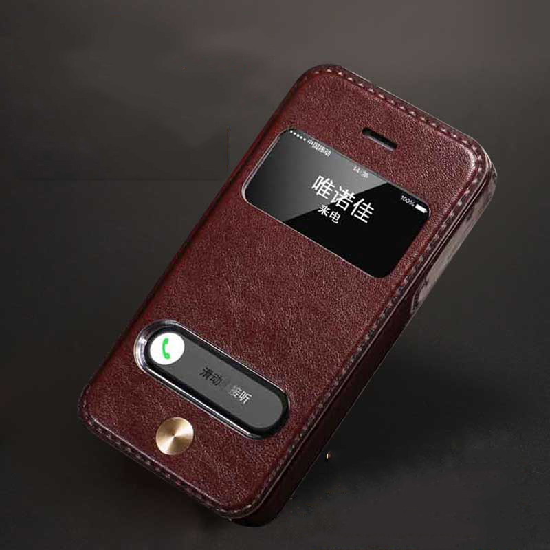 4S Luxury Style Vintage PU Leather Case for iPhone 4 4s CellPhone Bag Protector Flip Case Cover With Stand View Window(China (Mainland))