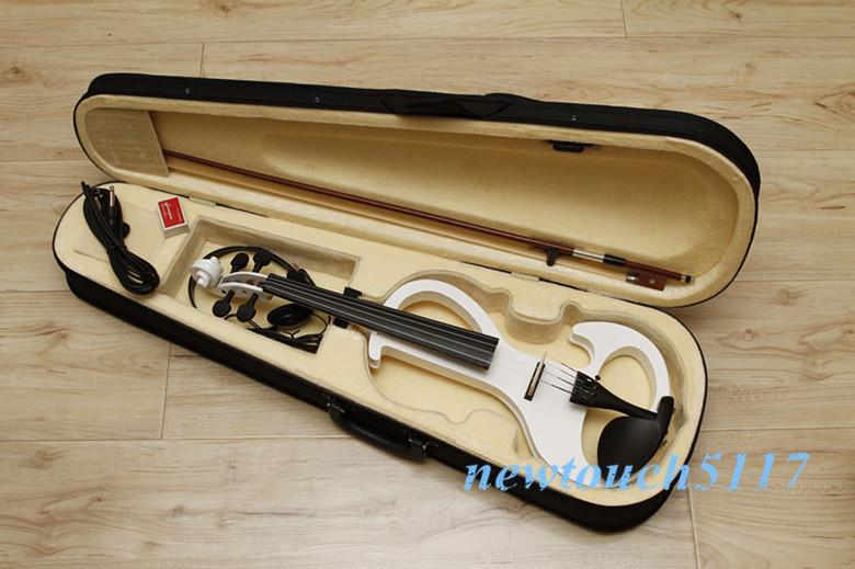 High quality 4/4 violin Send violin case Handmade white electric violin with power lines w6(China (Mainland))