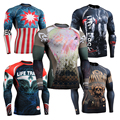 2016 Brand mens boxing Wear compression T Shirt for Men Bodybuilding and Fitness Rag Shirt sublimation