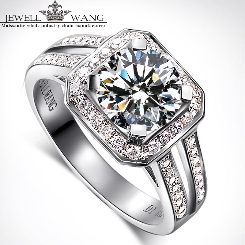JewellWang 18K White Gold Rings for Women Luxury Princess Square 1.0CT Carat Certified Moissanite Engagement Ring Diamond Side(China (Mainland))