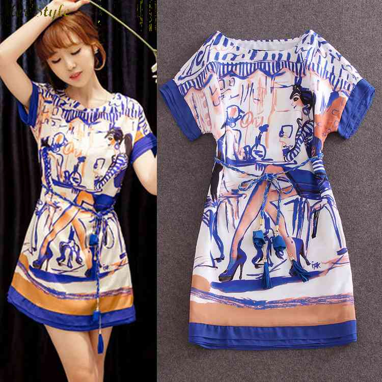 Free Shipping 2015 spring dresses beautiful soft classic retro abstract printed feminine dress 1432036912(China (Mainland))