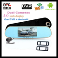 5 0 HD1080P Dash Camera Rearview Mirror Car DVR Dual Lens Vehicle Logger Android System Car