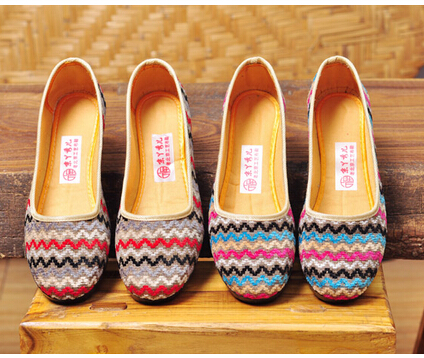 Size 35-40 # 2 Colours Fashion Casual Hemp Lady Flat Shoes Clothing Women Flats Girl's Candy Chinese Folk Shoes C013(China (Mainland))