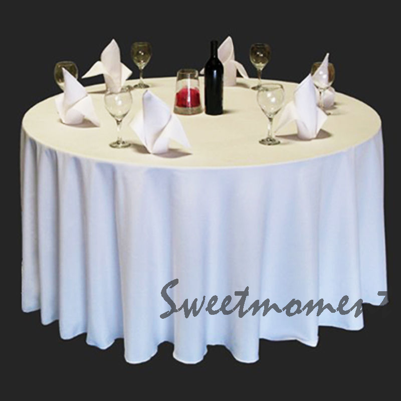 40 cheap 100% Polyester White Table cloth in 90''(230cm) for sale Round Good Quality Tablecloths for Wedding Sturdy Table cover(China (Mainland))