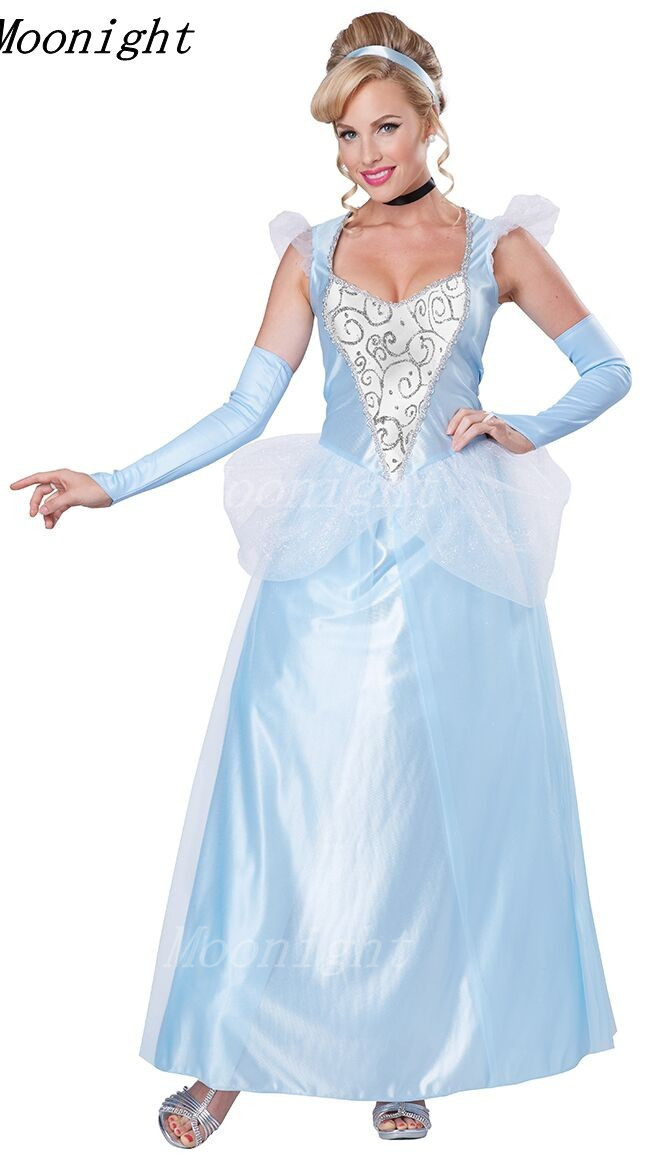 Blue Movie Sandy Girl Cinderella Princess Adult Cosplay Costume Deluxe Party Women Fancy Dress Halloween Masquerade Costume(China (Mainland))