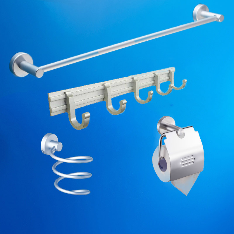 Bathroom accessories Space aluminum 4pecs Set single towel bar Hairdryer holder paper holder bathroom cloth hook hardware kits(China (Mainland))