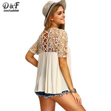 Dotfashion 2016 Blouses and Shirts For Women Vogue Royal Criss Cross Back Cut Out Crochet Short Sleeve Round Neck Blouse(China (Mainland))