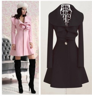 2014 New Women's Trench Coat Fashion Wool Blends Slim Thickening Coats Lovely Ruffle Decorate Outerwear M/L/XL/XXL CO-092(China (Mainland))