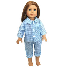 Cute American Girl Doll Clothes Pajamas Tartan Clothing for Dolls,18 Inch Dolls Clothes Sleepwear American Girl Doll Accessories