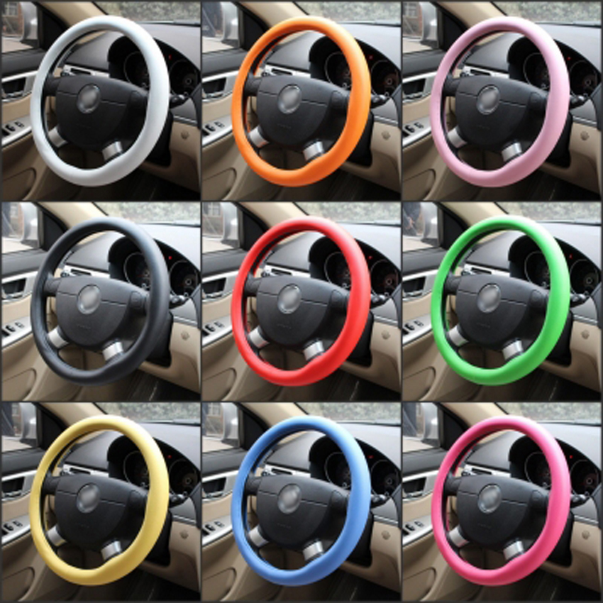 New auto car accessories steering wheel cover black leather textured silicone gloves (red / purple / brown / green / pink)(China (Mainland))