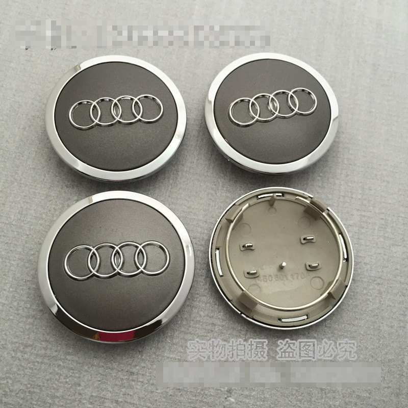4pcs Audi A05 68 mm Grey Car Logo Wheel Center Caps Emblem Auto Wheel Cover Hub Wheel Trim Cap Hubcap Badges Sticker For Audi