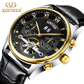 new Kinyued Tourbillon Mechanical Watch Men Automatic Skeleton Genuine Leather Horloges Mannen Stainless Steel Calendar Watches