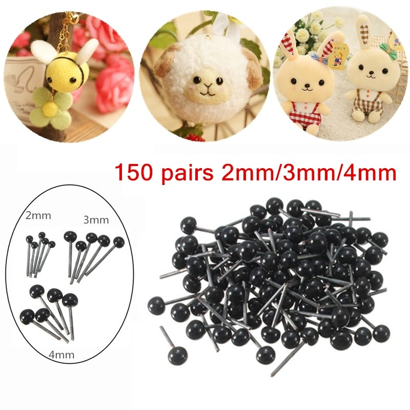 Brand New 150Pairs/Lot Glass Flat Eyes Kit 2/3/4mm For Needle Felting Craft Baby Animals Hot Sale Dolls DIY Accessories(China (Mainland))
