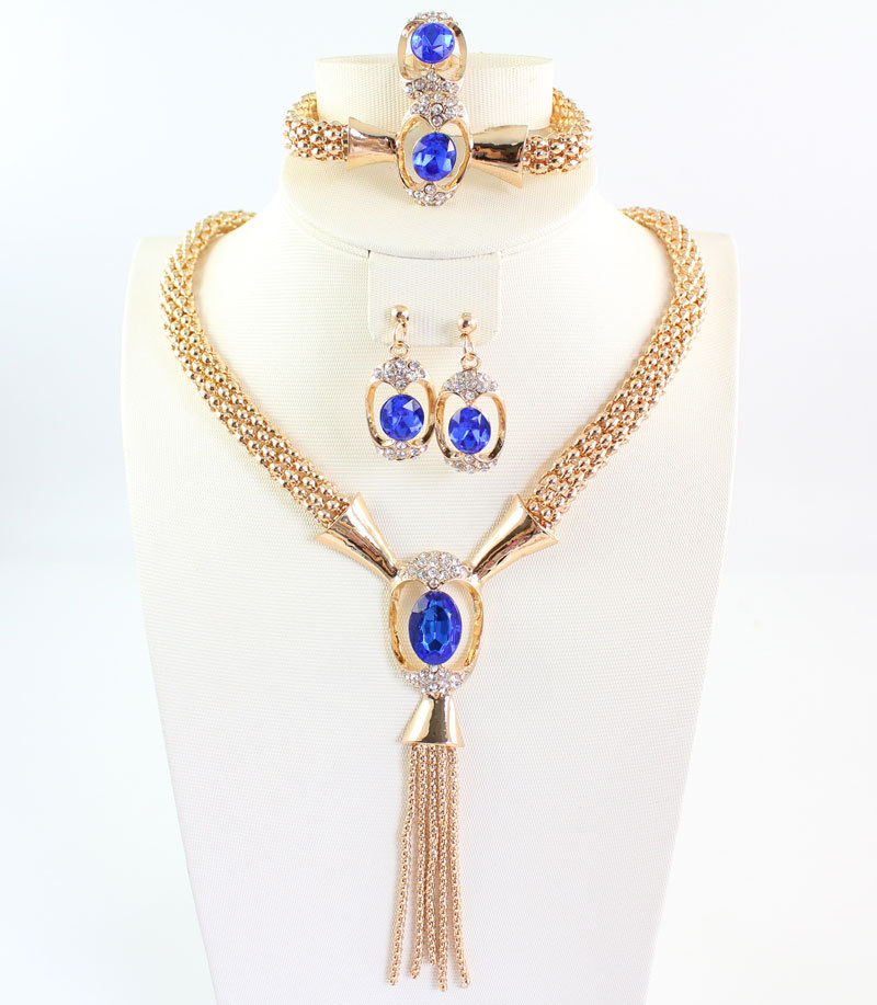 Hot 18K Gold Plated Gem sapphire jewelry Choker Collar Necklace Bracelet Earring Ring African Costume Tassel Fine Jewelry Set(China (Mainland))