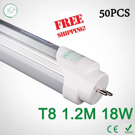 50PCS 4ft LED Tube T8 1200mm 18W AC 85V-265V smd2835 Cold White / Warm White 4000K LED Fluorescent light via FedEx(China (Mainland))