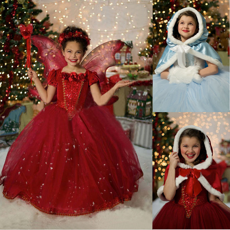 Retail Elsa Dress For Christmas Red Hooded Girls Clothing Children Kids Halloween Cosplay Snow Queen Costume Baby Girl Dresses(China (Mainland))