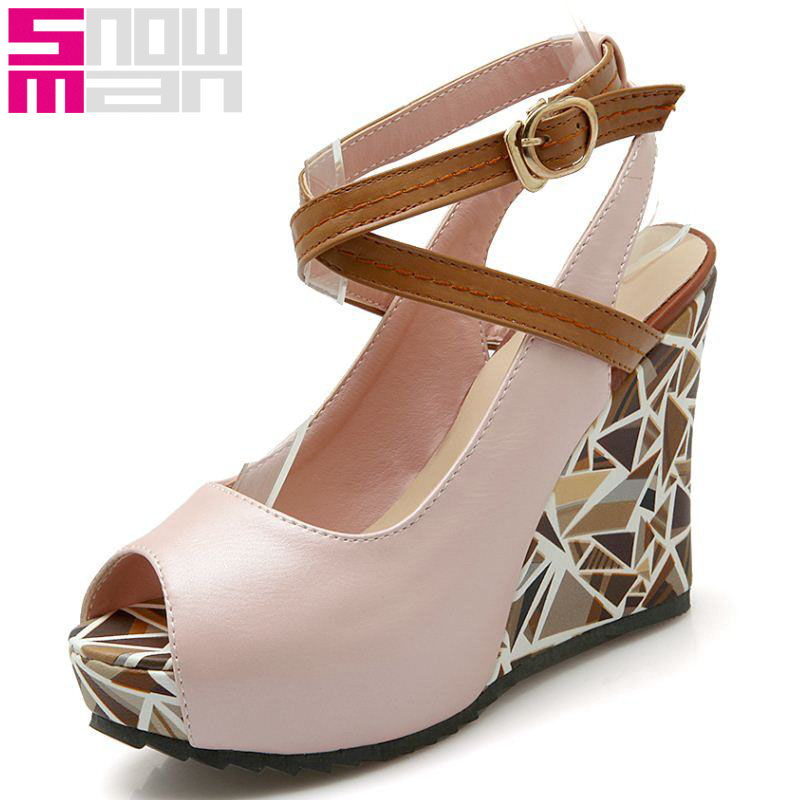 New Cross Strap Women Sandals Skid Proof Platform Shoes Woman Patch Color Wedges High Heels Shoes Sexy Peep Toe Summer Sandals