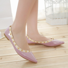V European choke a little chilli and shoe rivets shoes pointy flat shoes asakuchi shoes women