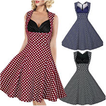 50s Women Summer Vintage Sexy V Neck Polka Dot Casual Party Dress Tunic Elegant Rockabilly Ball