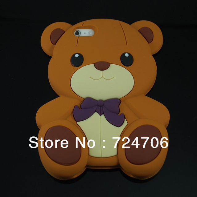 New 3D Hello Teddy Bear Soft Silicone Cute Case Skin Back Cover For iPhone 4 4S 4G 1pcs/lot free dropshipping! Wholesales!