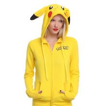 Free Shipping 2016 Autumn Winter Women Sweatshirt Warm Zip-up Pikachu Pokemon Go Printed Kawaii Tumblr Printed Female Hoodies