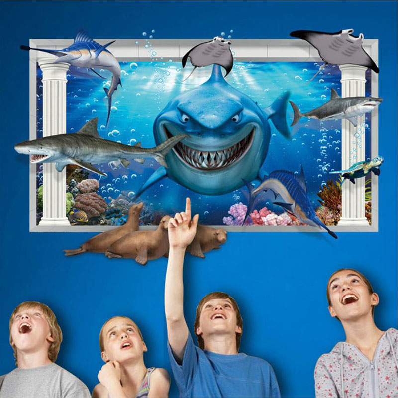 Cartoon Animal 3D DIY Wall Sticker For Kids Rooms Shark Underwater World Decor Poster Home Bathroom Removable Floor Paster Decal(China (Mainland))